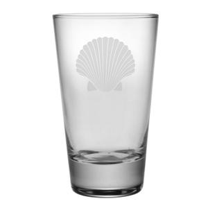 Scallop Shell Etched Hi-Ball Glass Set
