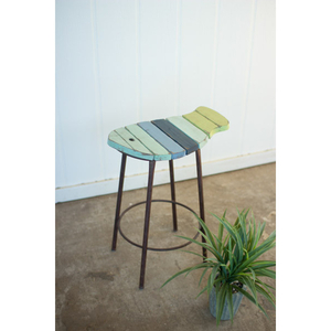 Painted Wood And Metal Fish Counter Stool
