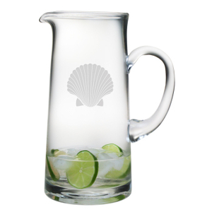 Scallop Shell Etched Tankard Pitcher