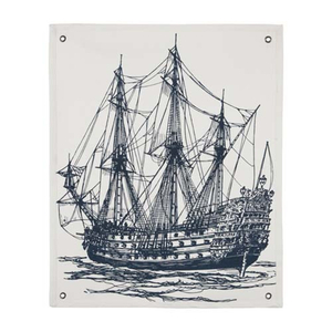 Canvas Ship Wall Panel In Dark Blue Ink