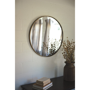 Round Antique Brass Framed Mirror