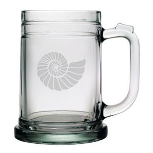 Nautilus Shell, Tankard Beer Mugs, 15Oz,  S/4