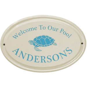 Sea Turtle Ceramic Oval Welcome to our Pool Plaque