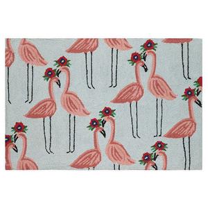 Floral Flamingo Hook Rug