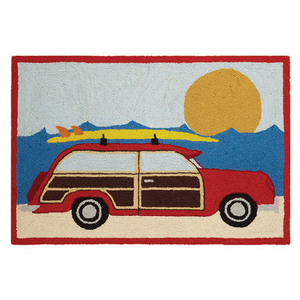 Red Wagon At The Beach Hook Rug