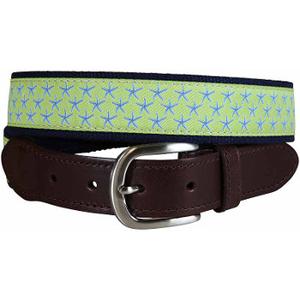 Starfish (Key Lime) Leather Tab Belt