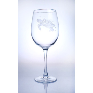 Sea Turtle White 12oz Wine Glasses  S/4