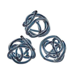 Navy Blue Glass Knots - Set Of 3