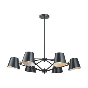 Webre 6 Light Chandelier In Matte Black And Gold Leaf