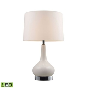 """Mary-Kate And Ashley 18"""" Continuum White Led Table Lamp In Chrome"""