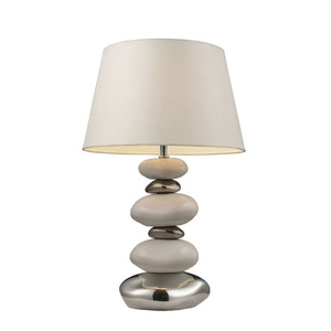 "Mary-Kate And Ashley 23"" Elemis Table Lamp In White And Chrome"
