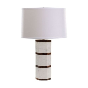 White Marble And Wood Hexagon Table Lamp