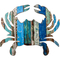Crab Wooden Plaque in Coastal Colors