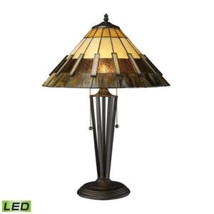 Porterdale 2 Light Led Table Lamp In Tiffany Bronze