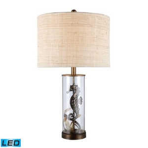 Largo Led Seahorse Table Lamp In Bronze And Clear Glass With Natural Linen Shade