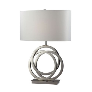Trinity Table Lamp In Polished Nickel With Pure White Shade