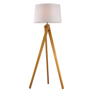 Wooden Tripod Floor Lamp In Natural Wood Tone