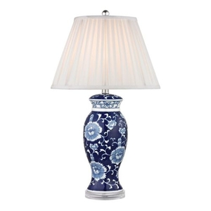 Hand Painted Ceramic Table Lamp In Blue And White With Acrylic Base