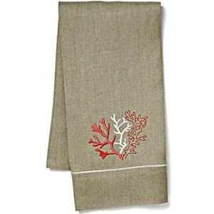 Coral Natural Linen Guest Towel