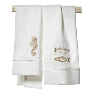 Sea Life Collection I Embroidery Linen Guest Towel