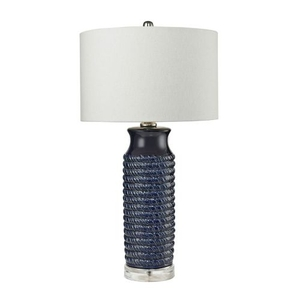 Wrapped Rope Ceramic Table Lamp In Navy Blue