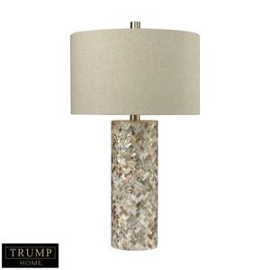 Trump Home Herringbone Table Lamp In Natural Mother Of Pearl
