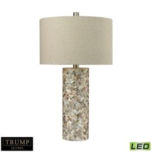 Trump Home Herringbone Led Table Lamp In Natural Mother Of Pearl