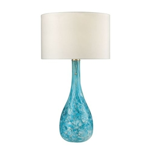 Mediterranean Blown Glass Table Lamp In Seafoam
