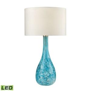 Mediterranean Blown Glass Led Table Lamp In Seafoam