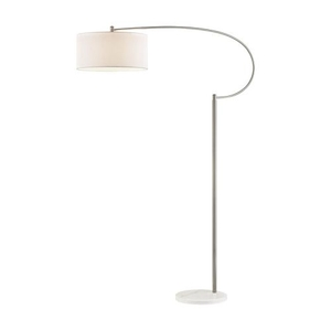 Whitecrane 1 Light Floor Lamp In Satin Nickel And White
