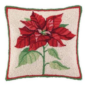 Holiday  Poinsettia Hook Pillow