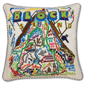 Block Island Hand Embroidered Pillow