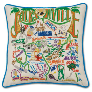 Jacksonville Hand Embroidered Pillow