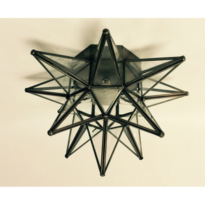 Glass Moravian Star Bronze Ceiling Light/Wall Sconce