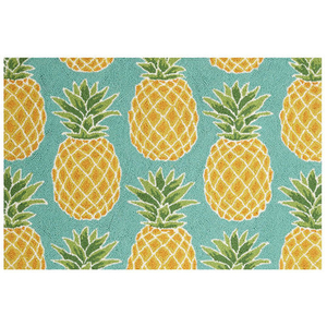 Blue Pineapple Hook Rug
