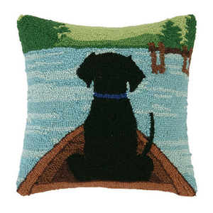 Black Lab In Canoe Hook Pillow