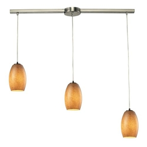 Andover 3 Light Pendant In Satin Nickel And Textured Beige Glass