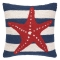 Red Starfish On Blue Stripe Hook Pillow
