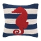 Red Seahorse On Blue Stripe Hook Pillow