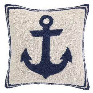 Blue Anchor Hook Pillow