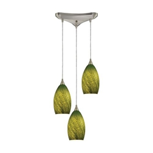 Earth 3 Light Pendant In Satin Nickel And Grass Green Glass