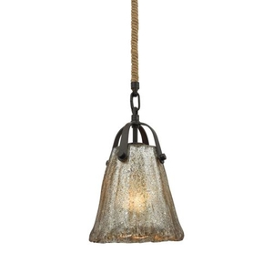 Hand Formed Glass 1 Light Pendant In Oil Rubbed Bronze