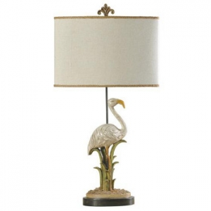 Egret In Reeds Table Lamp