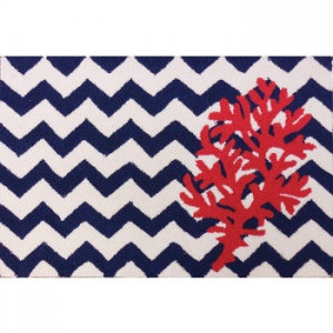 Chevron And Coral Accent Rug