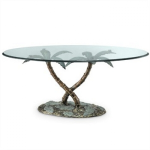 Palm Tree Glass Top Coffee Table