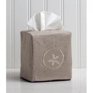 Sand Dollar Tissue Box Natural Linen Cover