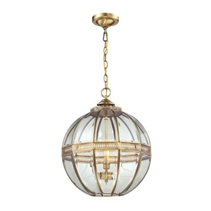 Randolph 3 Light Pendant In Brushed Brass And Clear Glass