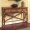 Coastal Rattan Console Table With Drawer