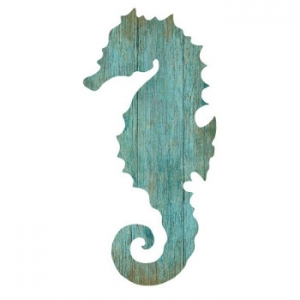 Seahorse Silhouette Facing Left Wall Art - Aqua