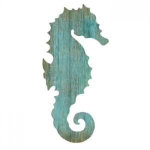 Seahorse Silhouette Facing Right Wall Art - Aqua